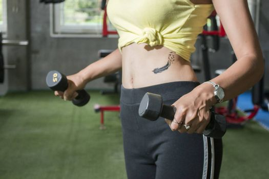 close up view on female body with dumbbells in hand