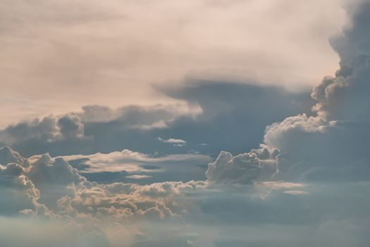 Beautiful sky with clouds background. The softness of the clouds