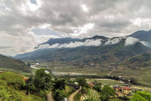 Rice field terraces Mountain paddy view in the clouds village Sapa, Lao Cai Province, Vietnam.