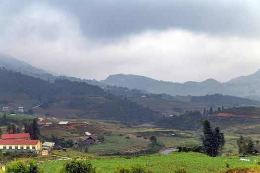 Landscape view of Sapa Valley in Lao Cai Province in Vietnam Sa Pa is a popular tourist destination
