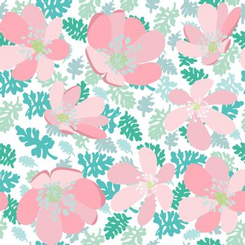 Hand drawn natural leaves and flowers pattern texture. Green leaves and pink flowers seamless vector Fashionable herb wallpaper.