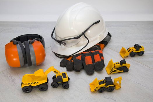 Dress up props for children playing construction worker.
