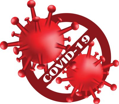 Stop Covid-19.Sign and Symbol for viral disease cell Covid-19. Dangerous virus vector illustration concept Pandemic medical health sign