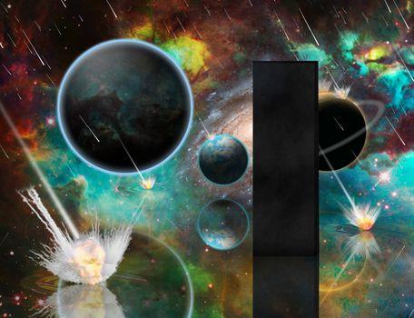 Planetary Armageddon. Massive meteorite - asteroid shower destroy planets. Black mystic monolith. 3D rendering