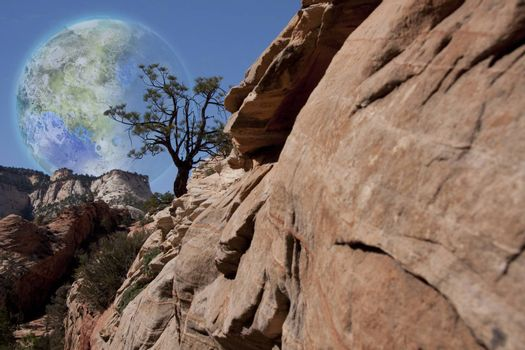 Fantastic. Red rock mountains. Terraformed moon in the sky. 3D rendering