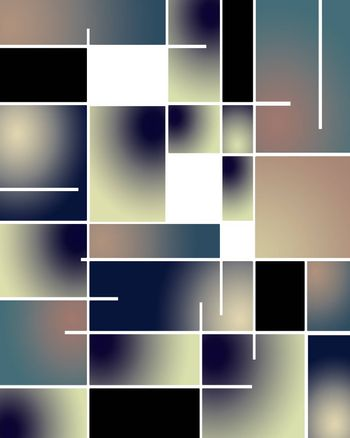 Abstract pattern in Mondrian style. Muted colors. 3D rendering
