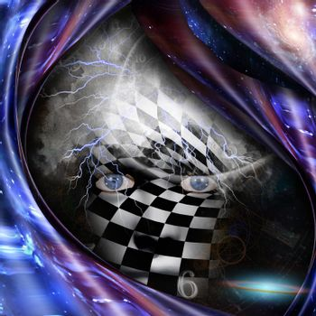 Surrealism and symbolism. Time spirals and checkered face. 3D rendering