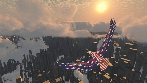 Eagle flies above futuristic megalopolis. 3D rendering