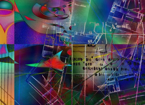Muted Abstract with text and geometric shapes. 3D rendering