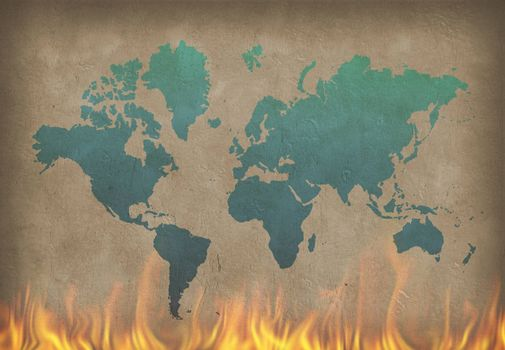 World map. Painting in blue color on the burning wall. 3D rendering