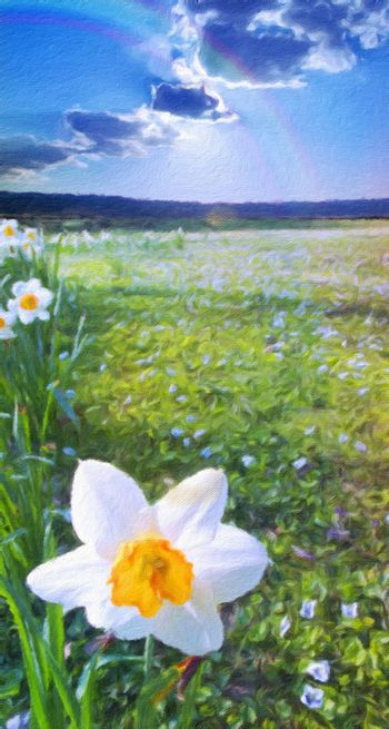 Narcissus field. Mountains at the horizon and cloudy sky. Oil painting. 3D rendering