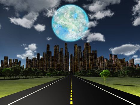 Night roadway to future city. Terraformed moon in the sky. 3D rendering
