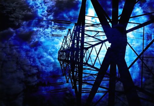 Surrealism. High voltage pole.