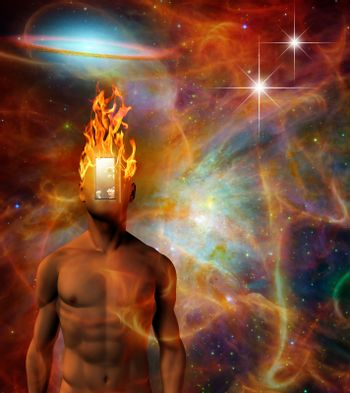 Surreal composition. Burning mind in cosmic space