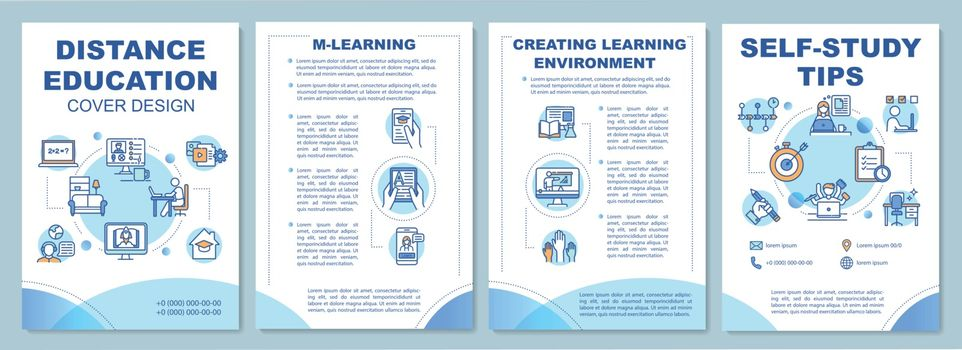 Online education brochure template. Learning environment. Flyer, booklet, leaflet print, cover design with linear icons. Vector layouts for magazines, annual reports, advertising posters