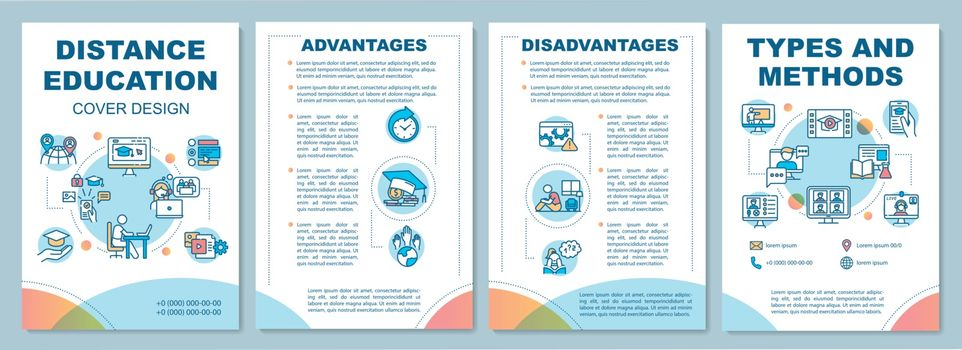 Distance education brochure template. Online education types. Flyer, booklet, leaflet print, cover design with linear icons. Vector layouts for magazines, annual reports, advertising posters