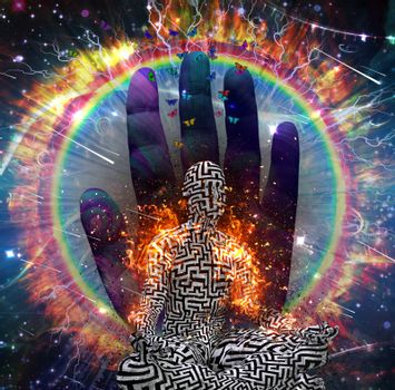 Galaxy and fire ring. Man with maze pattern in lotus pose. 3D rendering.