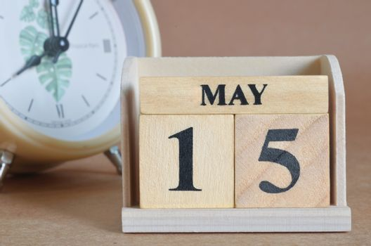 May 15, Cover design with clock in natural concept.