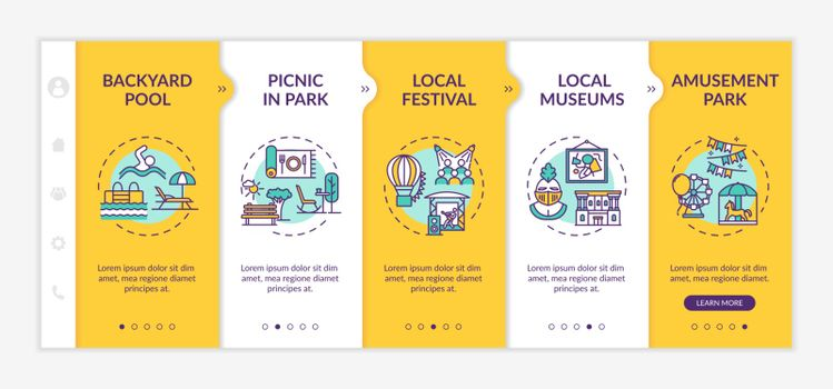 Holistay ideas onboarding vector template. Picnic in park. Budget friendly leisure activities. Responsive mobile website with icons. Webpage walkthrough step screens. RGB color concept