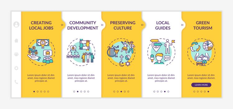 Benefits of local tourism onboarding vector template. Creating local jobs. Preserving culture. Responsive mobile website with icons. Webpage walkthrough step screens. RGB color concept