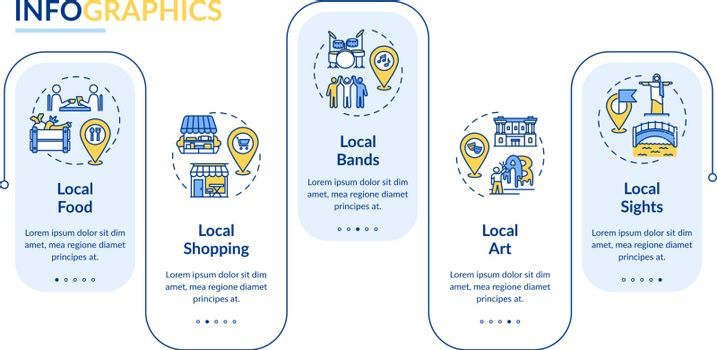 Local tourism elements vector infographic template. Sightseeing and shopping. Presentation design elements. Data visualization with 5 steps. Process timeline chart. Workflow layout with linear icons