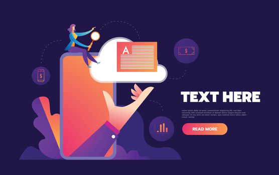 Isometric concept of smartphone with different applications, on-line services and stationary options. Vector illustration