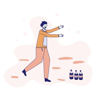 Soda addiction concept illustration. The man runs to the soda bottles. An unhealthy lifestyle, unhealthy diet, and a sweet tooth. Vector illustration. Lines.