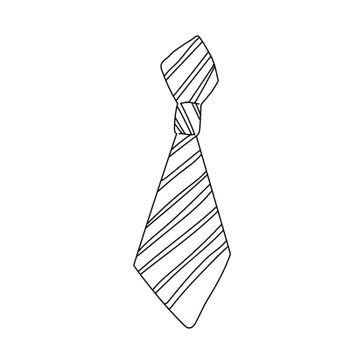 Windsor neckwear form design. Tie sign isolated on white background. Freehand outline ink hand drawn doodle icon sketchy in art scribble style pen on paper.
