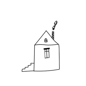 child s drawing of a house. doodle illustration isolated on white background.