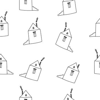 Cartoon Outline Hand Drawn Houses on White Background Vector Seamless Pattern.