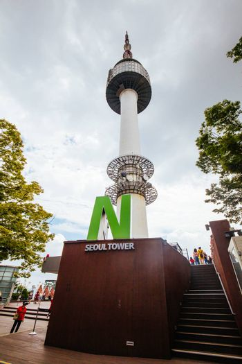SEOUL, SOUTH KOREA - AUGUST 25, 2018: Tower and attached buildings at N Seoul Tower, Namsan Park. South Korea.