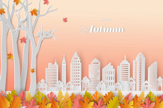Autumn or Fall background with colorful leaves and white city on paper art style,vector illustration