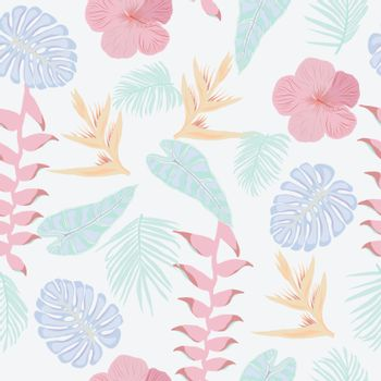 Hand drawn natural Tropical jungle leaves and flowers pattern texture. Vector seamless Fashionable floral wallpaper in pastel colors.