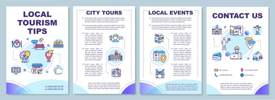 Local tourism tips brochure template. Guided tours. Staycation. Flyer, booklet, leaflet print, cover design with linear icons. Vector layouts for magazines, annual reports, advertising posters