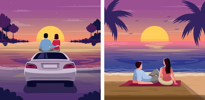 Couple watch sunset semi flat vector illustration set. Romantic weekend for woman and man. Pair sit on blanket in dusk. Lovers on beach 2D cartoon characters for commercial use collection