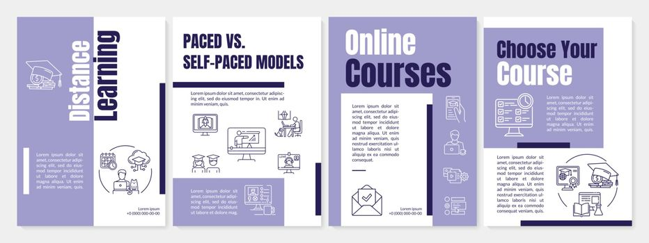 Distance learning brochure template. Online courses. Flyer, booklet, leaflet print, cover design with linear icons. Vector layouts for magazines, annual reports, advertising posters