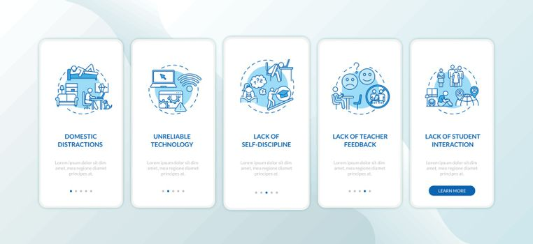Distance learning cons onboarding mobile app page screen with concepts. Lack of teacher feedback. Walkthrough 5 steps graphic instructions. UI vector template with RGB color illustrations