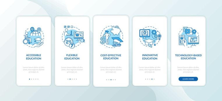 Distance learning pros onboarding mobile app page screen with concepts. Innovative education. Online education walkthrough 5 steps graphic instructions. UI vector template with RGB color illustrations