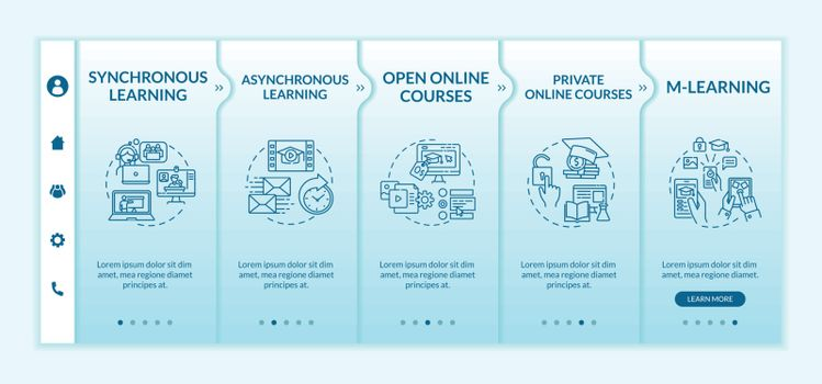 Distance learning types onboarding vector template. Synchronous and asynchronous learning. Responsive mobile website with icons. Webpage walkthrough step screens. RGB color concept