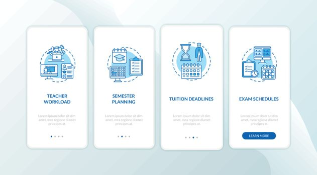 Distance learning elements onboarding mobile app page screen with concepts. Semester planning. E learning walkthrough 4 steps graphic instructions. UI vector template with RGB color illustrations