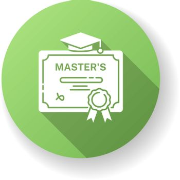Masters degree green flat design long shadow glyph icon. University accomplishment, college graduation. Higher education. Graduation certificate with mortar board silhouette RGB color illustration