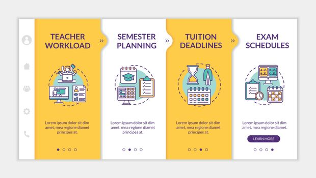 Distance learning components onboarding vector template. Online education. Semester planning. Responsive mobile website with icons. Webpage walkthrough step screens. RGB color concept