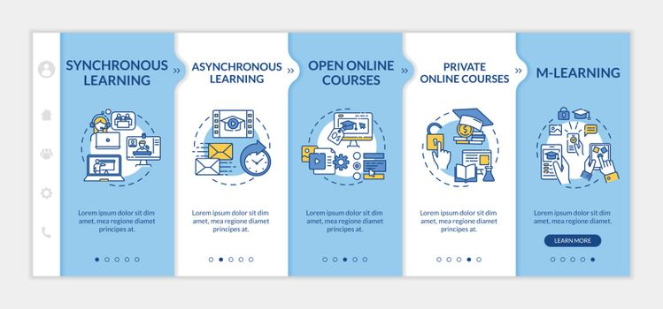 Distance education types onboarding vector template. Mlearning and elearning. Online meeting. Responsive mobile website with icons. Webpage walkthrough step screens. RGB color concept