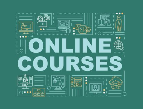 Online courses word concepts banner. Distance education. Web conferencing. Infographics with linear icons on blue background. Isolated typography. Vector outline RGB color illustration