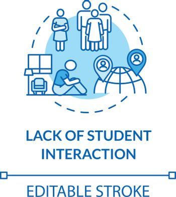 Lack of student interaction concept icon