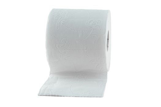 Toilet paper isolated on white. Supply for Quarantine cause of covid.  Because of coronavirus crisis restroom tissue is desperate buy. Hygiene bathroom roll cut out studio shot.