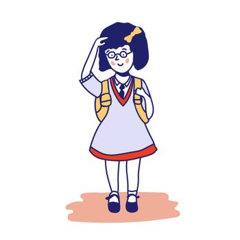 Cute girl in a school uniform with a backpack. illustration of a schoolgirl. Back to school.