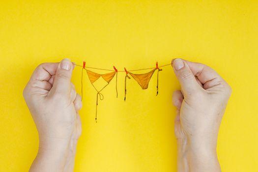 Bikini on the rope. Creative photo for the holiday Bikini Day.