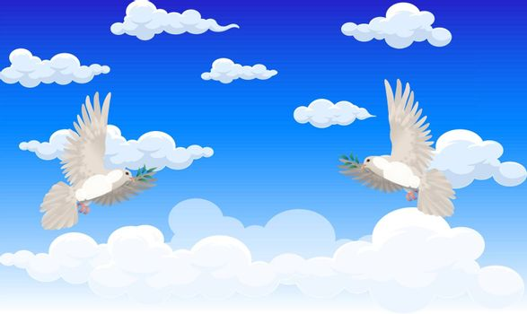 dove bird is flying in the sky on peace day