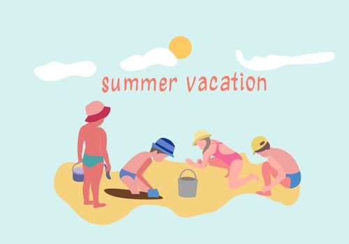 Vector hand-drawn set Illustration of children Active beach vacation. Summertime sand beach vacation. Little boys and girls playing with sand.